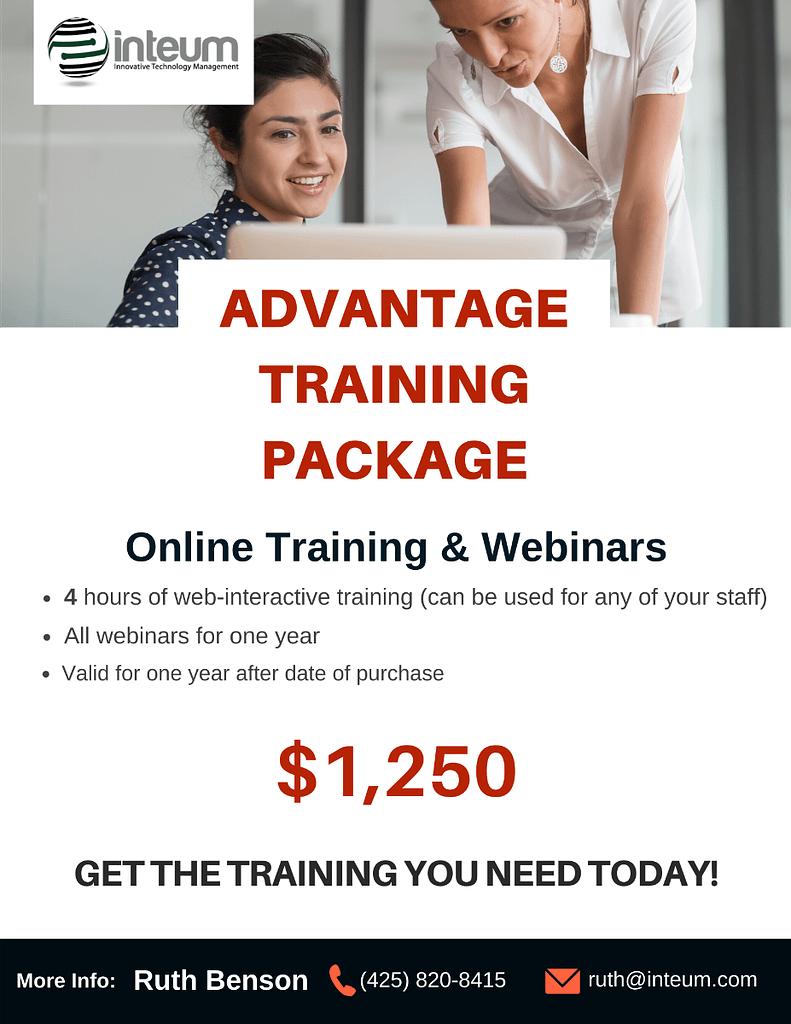 advantage training package flyer